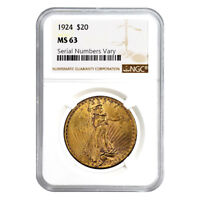 1924 $20 Gold St. Gaudens Double Eagle Coin NGC MS 63