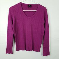 Talbots Womens Sweater Size M Petites Purple Pullover V Neck Ribbed Long SLeeve