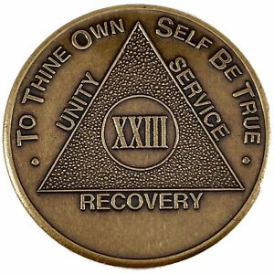 Recovery Mint 23 Year Bronze AA Meeting Chips - Twenty-Three Year Sobriety Coins