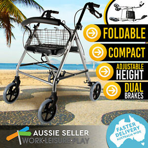 Foldable Rollator Walking Frame Medical Mobility Walker Aid 4 Wheels Outdoor