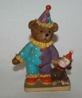 Vtg Bear Clown & Monkey Figurine - Circus Clown Bear Holding hands with monkey