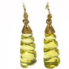 De Buman 18K Yellow Gold 24.02ctw Spiral Lemon Quartz & Diamond Pair Earrings