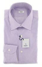 New $325 Barba Napoli Purple Striped Shirt - Slim - 15.5/39 - (D2U10T341906)