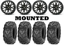 Kit 4 ITP Mud Lite II 2 Tires 27x9-12/27x11-12 on ITP Hurricane Matte Black IRS