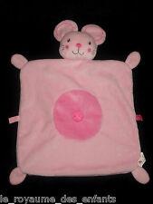 Doudou carré plat Souris rose bonbon, fushia Nicotoy rond croix étiquettes 40 cm