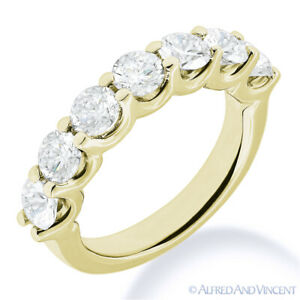 Round Moissanite 14k Yellow Gold 7-Stone U-Prong Anniversary Ring Wedding Band
