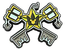 "Kingdom Hearts Crossed Keyblades Metal Enamel 1 1/2"" Wide Pin"