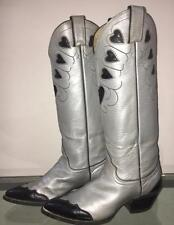 vtg womens Justin 70s 80s metallic silver heart wingtip cowboy cowgirl boots 6.5