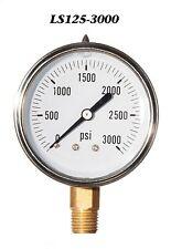 "New Hydraulic Liquid Filled Pressure Gauge 0-3000 PSI 2.5"" Face 1/4"" LM"