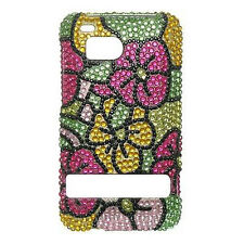 HTC Thunderbolt 4G Crystal Diamond Bling Hard Case Phone Cover Hawaii Flowers