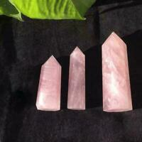 Natürlicher Stein Rosenquarz Kristall Punkt Heilstein R Obelisk Zauberstab R0J9