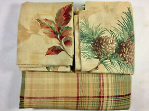 QUEEN BED SKIRT, 2 PILLOW SHAMS COVERS, PLAID RED GREEN GOLD, PINE CONES LEAVES