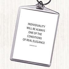 Noir Blanc CHRISTIAN DIOR individualité Citation Sac Tag Keychain Keyring