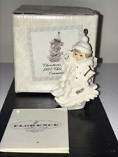 Nib Giuseppe Armani Ornament 1997 Christmas Snow Girl w Cat Sledding Italy 137F