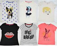 M&S girls summer cotton t-shirts, pug, lips, hedgehog, bonjour marks and spencer