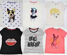 M&S girls summer cotton t-shirts, pug, lips, hedgehog, bonjour marks and spencer