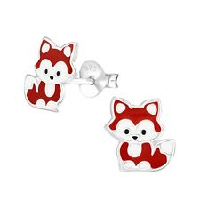 Ladies Girls 925 Sterling Silver Cute Sitting Fox Stud Earrings Pair - Boxed