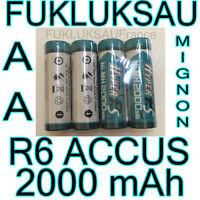 4 x PILAS AA BATERÍAS RECARGABLES MIGNON 2000 mah Ni-MH 1, 2V R6 LR06 NUEVO