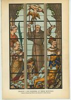 ANTIQUE SAINT FRANCIS OF ASSISI ELEANORE CHRIST CHURCH ST GUDULE WINDOW PRINT