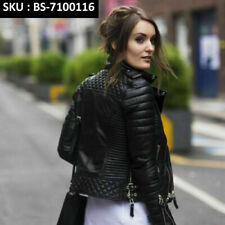 WOMEN'S FASHION SLIM FIT BIKER DIAMOND QUILTED KAY MICHAEL REAL LEATHER JACKET