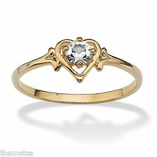 WOMENS 14K GOLD GP DIAMOND  BIRTHSTONE CRYSTAL HEART SHAPE RING 5 6 7 8 9 10