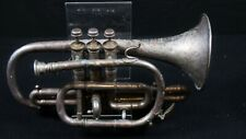 More details for early 20th century silver plated military cornet marked maker hm forces