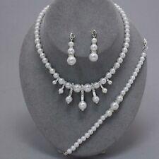 White faux pearl necklace bracelet set earring set wedding bridal prom 0370