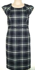 FEVER GREY BLK CHECK WOOL MIX WARM WEIGHT TAILORED FITTED LINED DRESS 18, 16-18