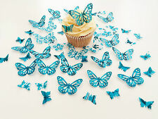 48 Edible Turquoise Heaven Butterflies Pre Cut Wafer Cupcake Toppers