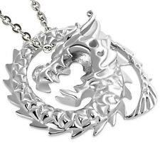 Stainless Steel SPIRAL DRAGON CHINESE ZODIAC SIGN Biker Pendant 35 x 30 mm