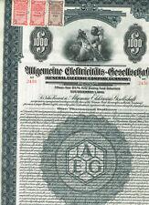 Allgemeine Elektricitäts-Ges., 1925, Gold-Anleihe $1000, gelocht/ Kupons, Steuer