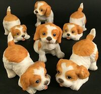 PUPPY FIGURINES SET OF 6 PLAYING VINTAGE GINGER & WHITE SPANIEL HOMCO