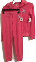 Girls Sz10 Juicy Couture Black Label Tracksuit Shocking Pink Hoodie & Pants $147