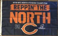CHICAGO BEARS 2018 NFC NORTH CHAMPIONS Reppin The North Flag 3 ' X 5 ' Feet