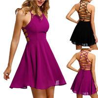 Sexy Women's Sleeveless Dress Backless Bandage Slim Party Cocktail Mini Dresses