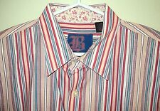 BROOKLYN EXPRESS NEW Authentic Striped Paisley Collar & Flip Up Cuffs Shirt 2XL