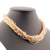 Vintage 30 strand necklace white micro seed gold lined bugle Czech glass beads