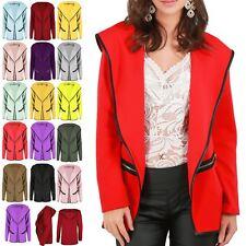 Ladies Hoodies Womens Open Front Zip Pockets Hood Cardigan Top Plus Size UK 8-22