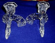 "2 x Unusual, Stylish Tripod Candle-Holders Glass Fine Dining 4.75"" tall"