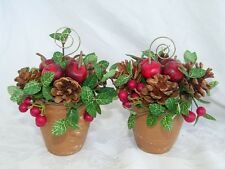 2 Pine cone Holiday Apple Floral Pot Table Place Card Holder Setting 18954