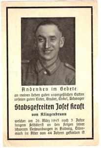 orig. STERBEBILD - DEATH CARD - Endkampf 1945 - Dänemark / Aalborg