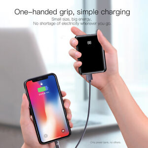 50000mAh Mini Power Bank 2USB LCD Battery Charger For iPhone 11 XS 8 Samsung S20