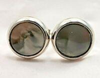 Mens Vintage Foster Cuff Links Cufflinks Round Silvertone Gray Jewelry 7463F