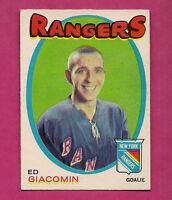 1971-72 OPC # 220 RANGERS EDDIE GIACOMIN  EX+ CARD (INV#0316)