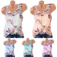 Womens Chiffon Sleeveless Vest Blouse Casual Tank Loose Summer Floral Tops Shirt