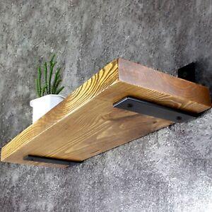 Wood Floating Shelf - Rustic Wooden Wall Shelves Triple Coated with Oil - Oak