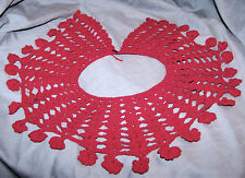 "VINTAGE RED HAND CROCHET COLLAR~1 RED  BUTTON CLOSURE~3 3/4"" WIDE~NECK 16""~ VG"