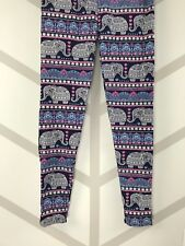 Elephants Tall & Curvy Navy Blue Bckgrnd Pink White TC Leggings Buttery Soft