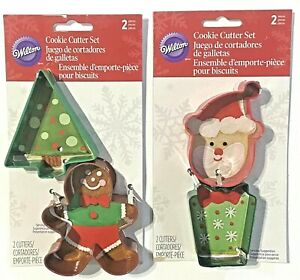 Wilton Christmas Cookie Cutters - Santa Tree Gingerbread Man Present - Lot of 2
