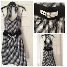 River Island Dress Black And White Sleeveless Size 8 Eur 34 With Belt (335)